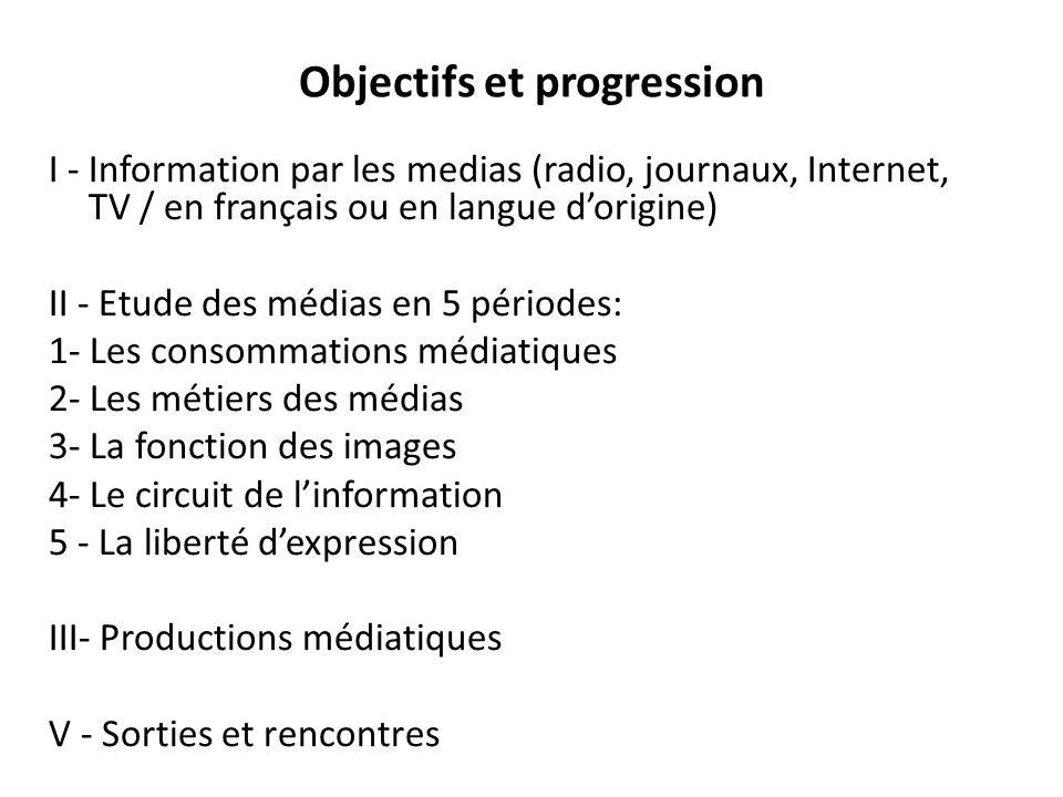 Objectifs et progression I - Information par les medias (radio, journaux, Internet, TV / en français ou en langue d'origine) II - Etude des médias en