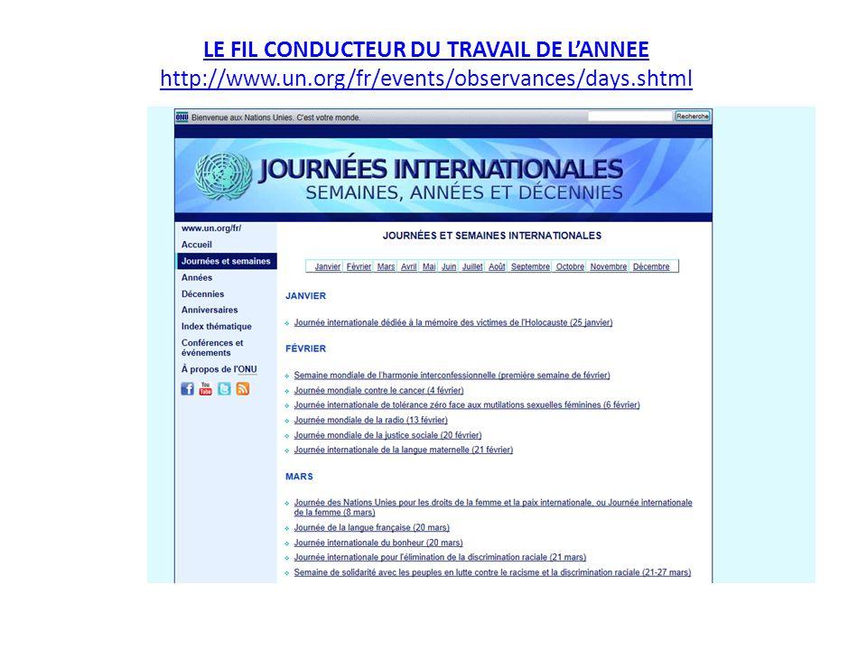 LE FIL CONDUCTEUR DU TRAVAIL DE L'ANNEE http://www.un.org/fr/events/observances/days.shtml