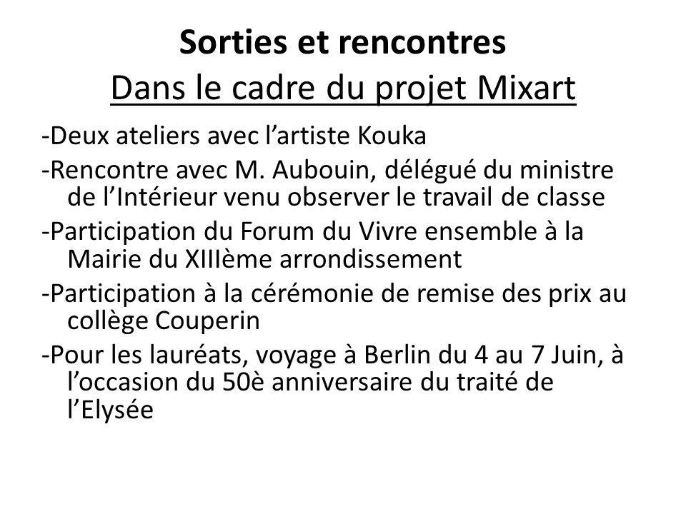 Sorties et rencontres Dans le cadre du projet Mixart -Deux ateliers avec l'artiste Kouka -Rencontre avec M. Aubouin, délégué du ministre de l'Intérieu