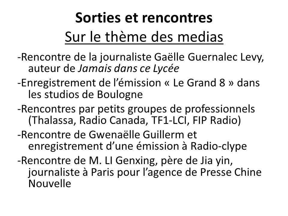 Sorties et rencontres Sur le thème des medias -Rencontre de la journaliste Gaëlle Guernalec Levy, auteur de Jamais dans ce Lycée -Enregistrement de l'