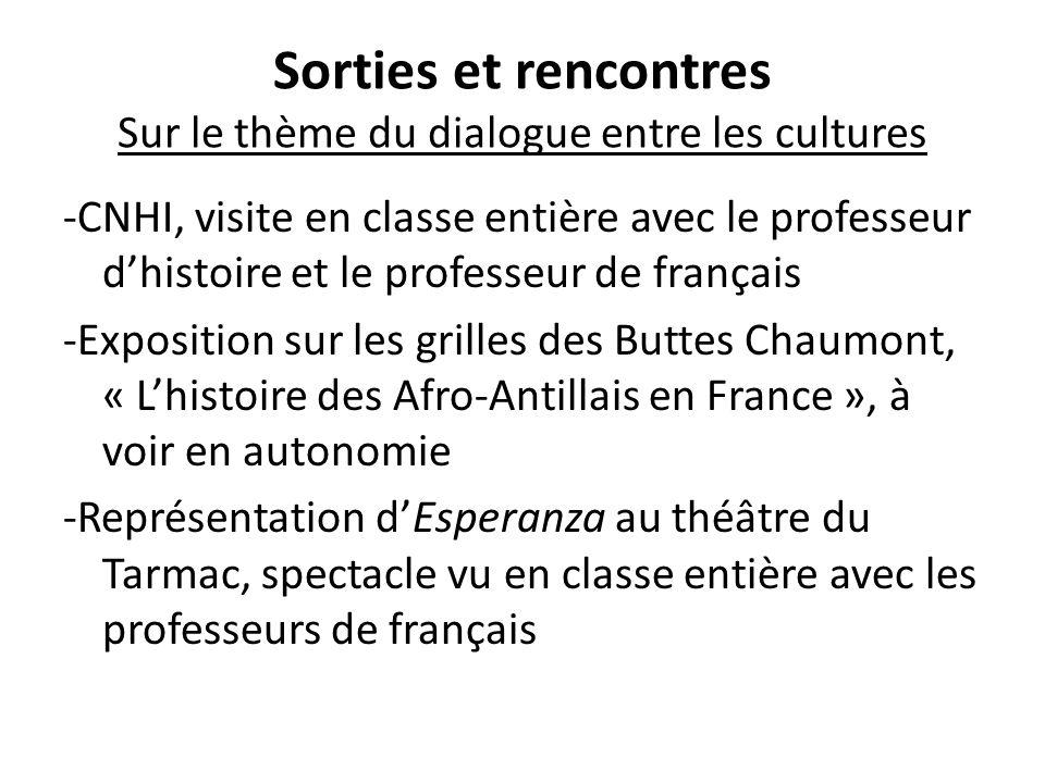 Sorties et rencontres Sur le thème du dialogue entre les cultures -CNHI, visite en classe entière avec le professeur d'histoire et le professeur de fr