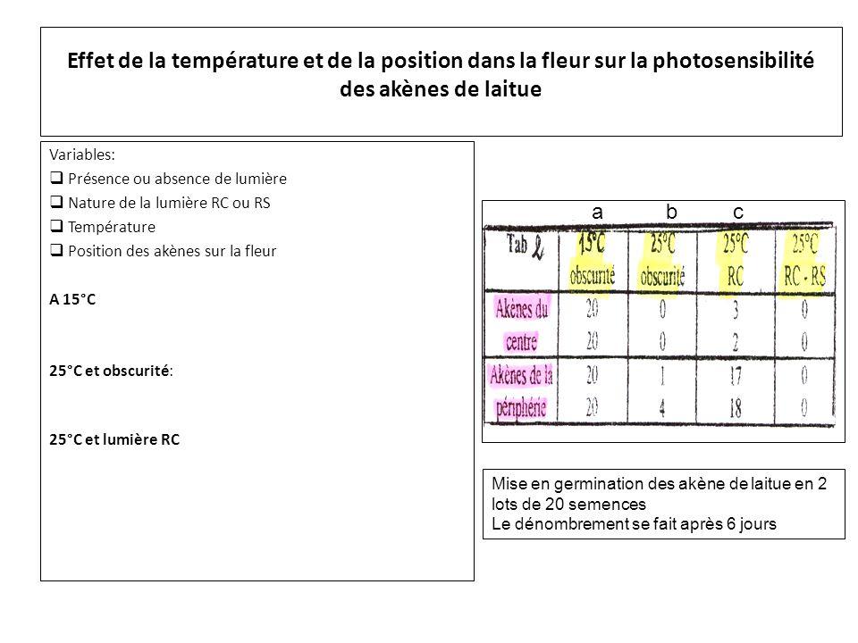 Effet de la température et de la position dans la fleur sur la photosensibilité des akènes de laitue Variables:  Présence ou absence de lumière  Nature de la lumière RC ou RS  Température  Position des akènes sur la fleur A 15°C, malgré l'obscurité toutes les semences germent.