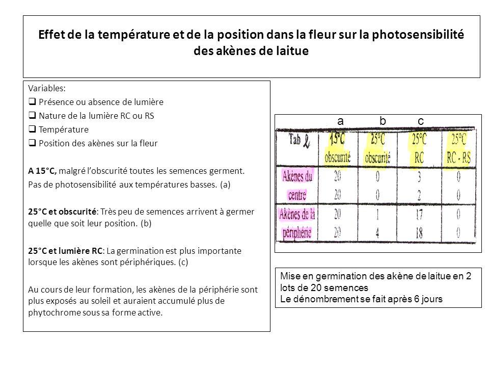 Effet de la température et de la position dans la fleur sur la photosensibilité des akènes de laitue Variables:  Présence ou absence de lumière  Nat