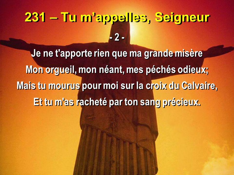 231 – Tu m'appelles, Seigneur - 3 - Je dépose à tes pieds le fardeau qui m oppresse Je n attends que de toi le pardon et la paix; Délivre-moi, Jésus, de ma grande détresse, Éloigne de mon coeur mes péchés à jamais.