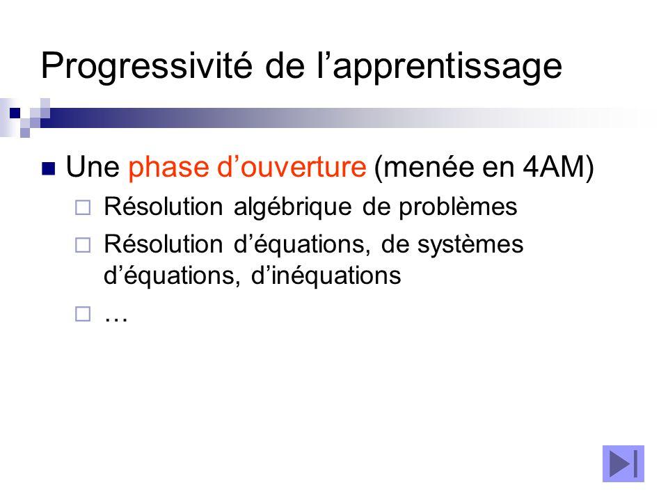 Progressivité de l'apprentissage Une phase d'ouverture (menée en 4AM)  Résolution algébrique de problèmes  Résolution d'équations, de systèmes d'équ