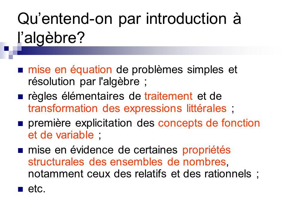 Qu'entend-on par introduction à l'algèbre? mise en équation de problèmes simples et résolution par l'algèbre ; règles élémentaires de traitement et de