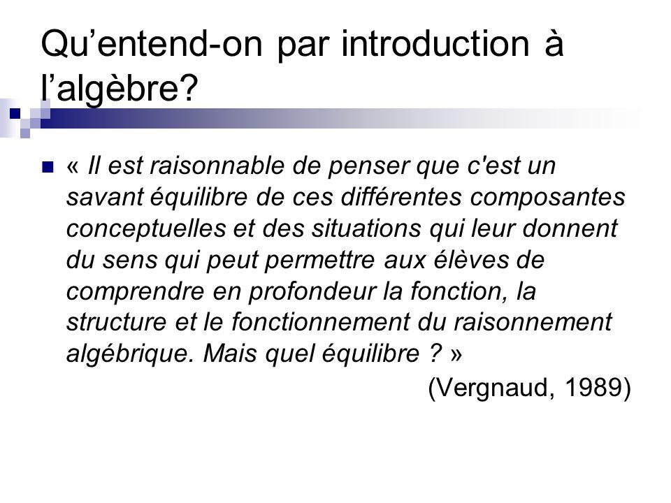 Qu'entend-on par introduction à l'algèbre? « Il est raisonnable de penser que c'est un savant équilibre de ces différentes composantes conceptuelles e