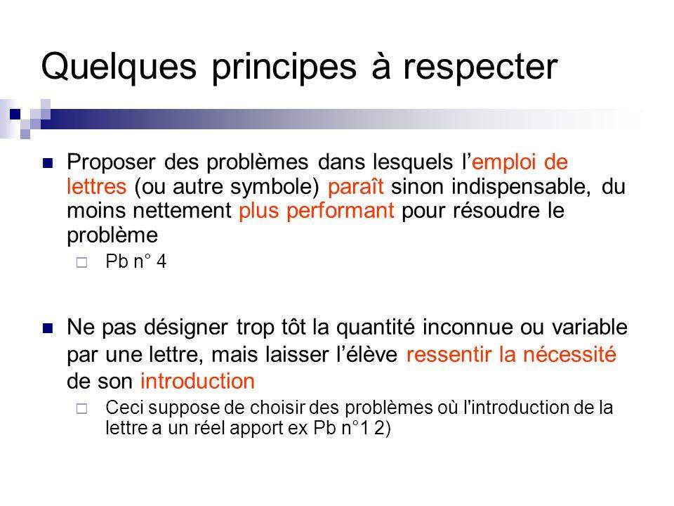Quelques principes à respecter Proposer des problèmes dans lesquels l'emploi de lettres (ou autre symbole) paraît sinon indispensable, du moins nettem