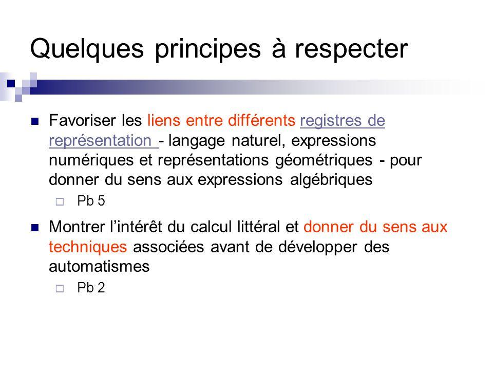 Quelques principes à respecter Favoriser les liens entre différents registres de représentation - langage naturel, expressions numériques et représent