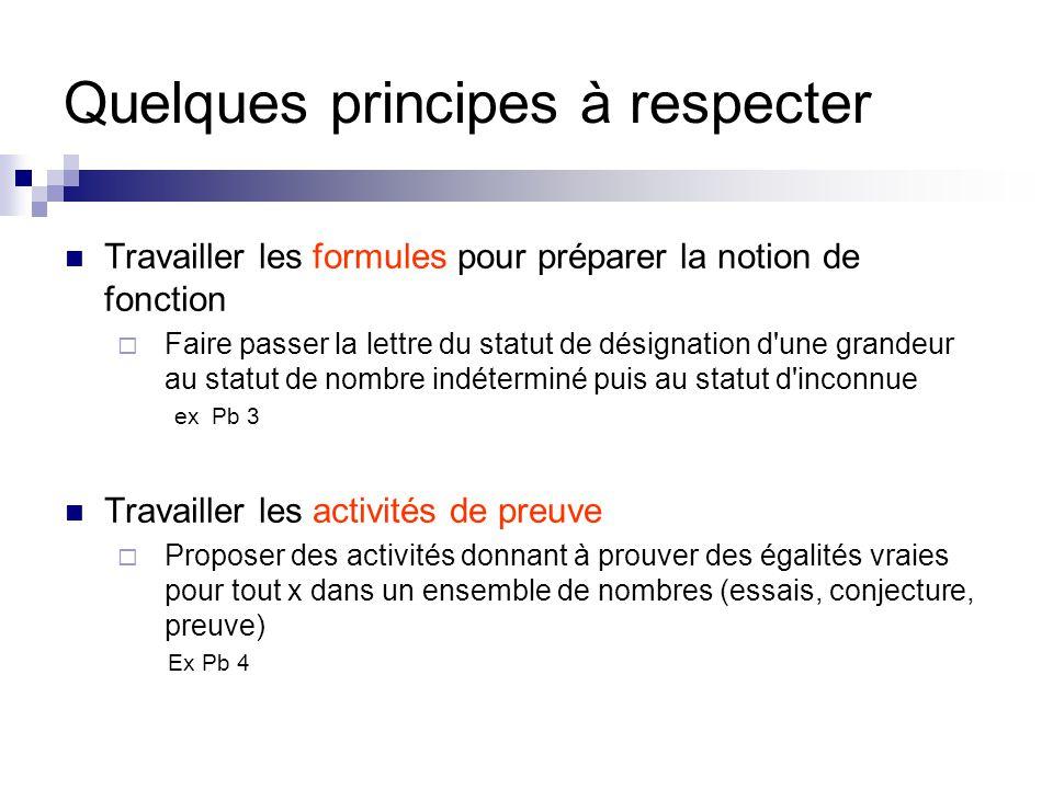 Quelques principes à respecter Travailler les formules pour préparer la notion de fonction  Faire passer la lettre du statut de désignation d'une gra