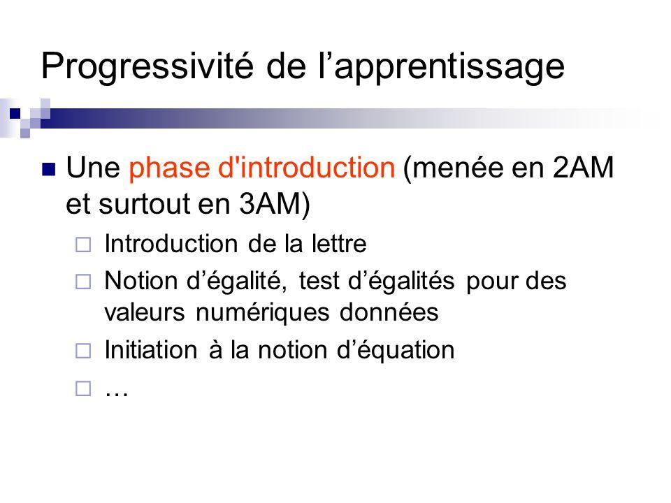Progressivité de l'apprentissage Une phase d'introduction (menée en 2AM et surtout en 3AM)  Introduction de la lettre  Notion d'égalité, test d'égal