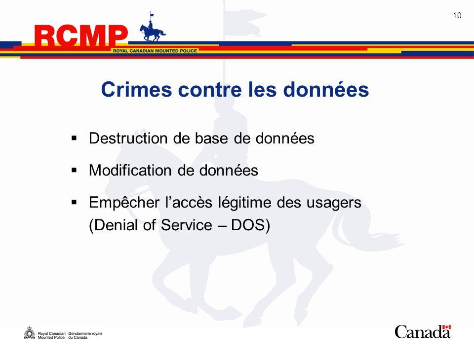 10 Crimes contre les données  Destruction de base de données  Modification de données  Empêcher l'accès légitime des usagers (Denial of Service – D