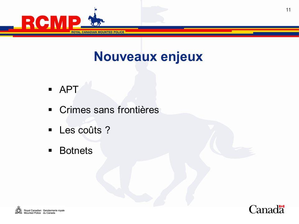 11 Nouveaux enjeux  APT  Crimes sans frontières  Les coûts ?  Botnets