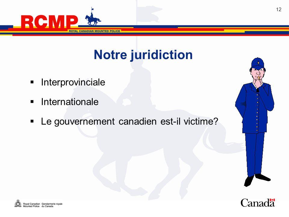 12 Notre juridiction  Interprovinciale  Internationale  Le gouvernement canadien est-il victime?