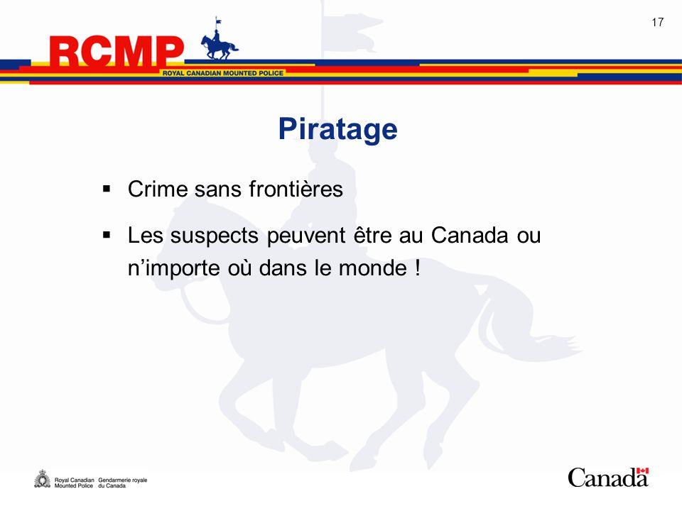 17 Piratage  Crime sans frontières  Les suspects peuvent être au Canada ou n'importe où dans le monde !