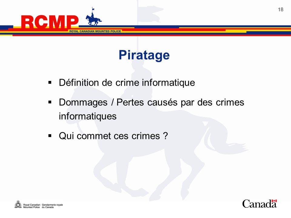18 Piratage  Définition de crime informatique  Dommages / Pertes causés par des crimes informatiques  Qui commet ces crimes ?
