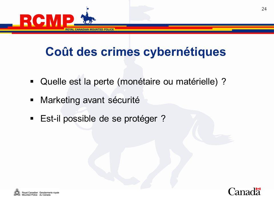 24 Coût des crimes cybernétiques  Quelle est la perte (monétaire ou matérielle) ?  Marketing avant sécurité  Est-il possible de se protéger ?