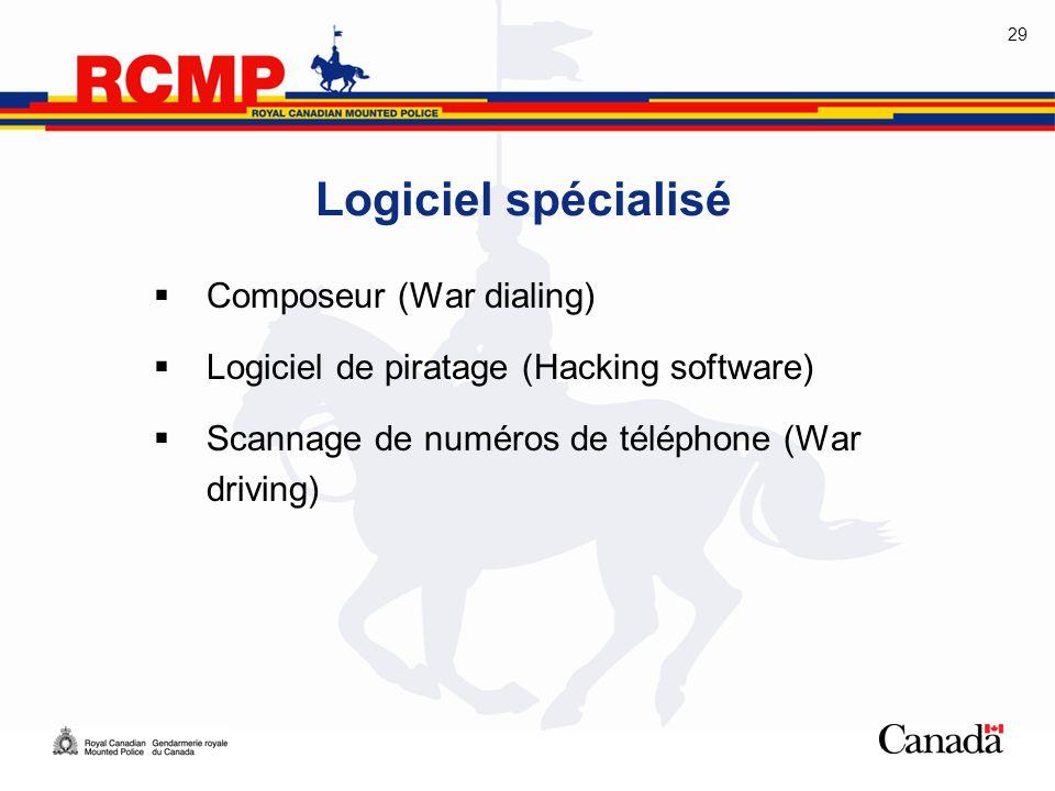 29 Logiciel spécialisé  Composeur (War dialing)  Logiciel de piratage (Hacking software)  Scannage de numéros de téléphone (War driving)