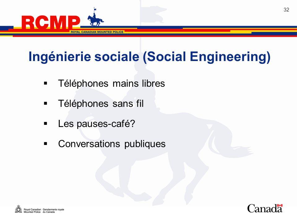 32  Téléphones mains libres  Téléphones sans fil  Les pauses-café?  Conversations publiques Ingénierie sociale (Social Engineering)