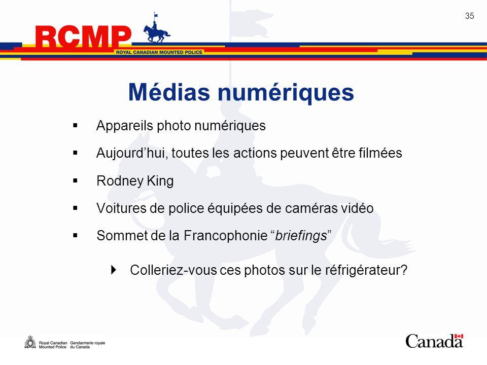35 Médias numériques  Appareils photo numériques  Aujourd'hui, toutes les actions peuvent être filmées  Rodney King  Voitures de police équipées d