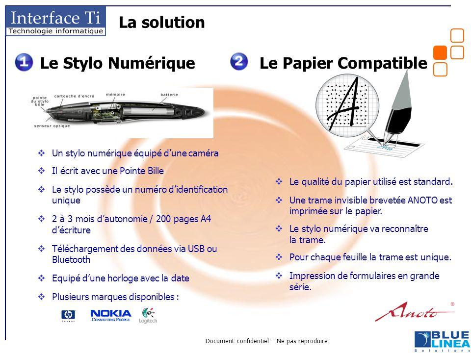 Document confidentiel - Ne pas reproduire La solution  Un stylo numérique équipé d'une caméra  Il écrit avec une Pointe Bille  Le stylo possède un