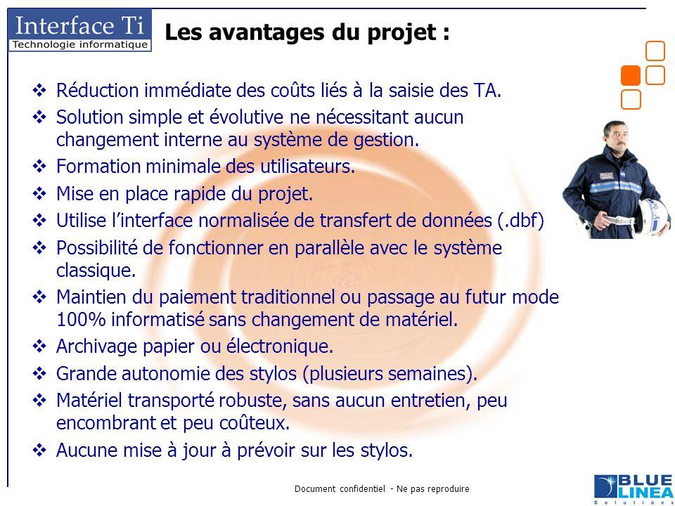 Document confidentiel - Ne pas reproduire Les avantages du projet :  Réduction immédiate des coûts liés à la saisie des TA.  Solution simple et évol
