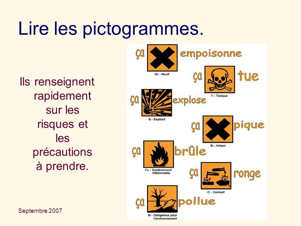 Septembre 2007 La sécurité en TP Lire les pictogrammes. Ils renseignent rapidement sur les risques et les précautions à prendre.
