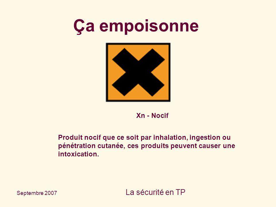 Septembre 2007 La sécurité en TP Xn - Nocif Produit nocif que ce soit par inhalation, ingestion ou pénétration cutanée, ces produits peuvent causer un