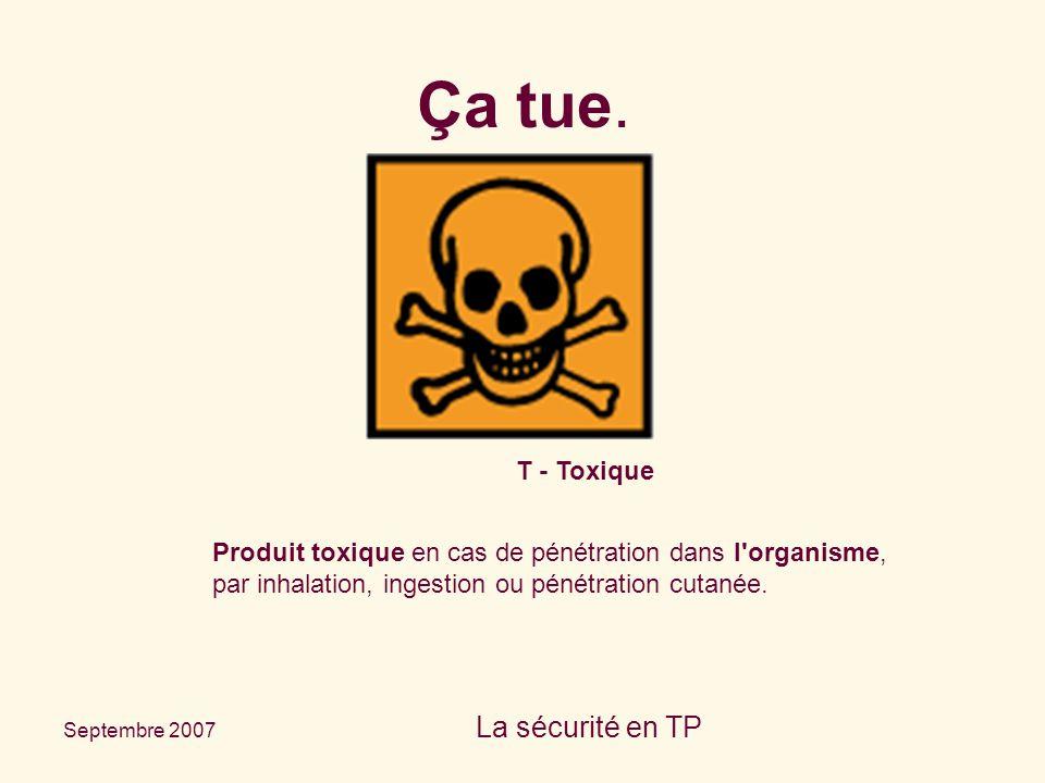 Septembre 2007 La sécurité en TP T - Toxique Produit toxique en cas de pénétration dans l'organisme, par inhalation, ingestion ou pénétration cutanée.