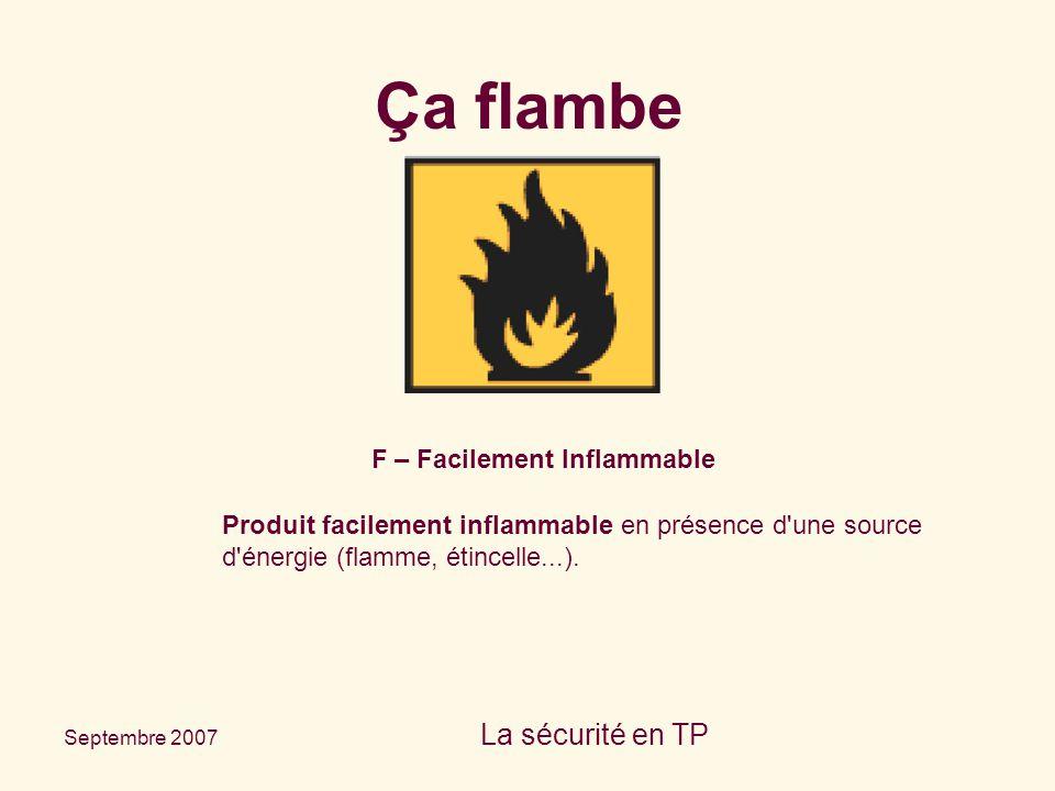 Septembre 2007 La sécurité en TP F – Facilement Inflammable Produit facilement inflammable en présence d'une source d'énergie (flamme, étincelle...).