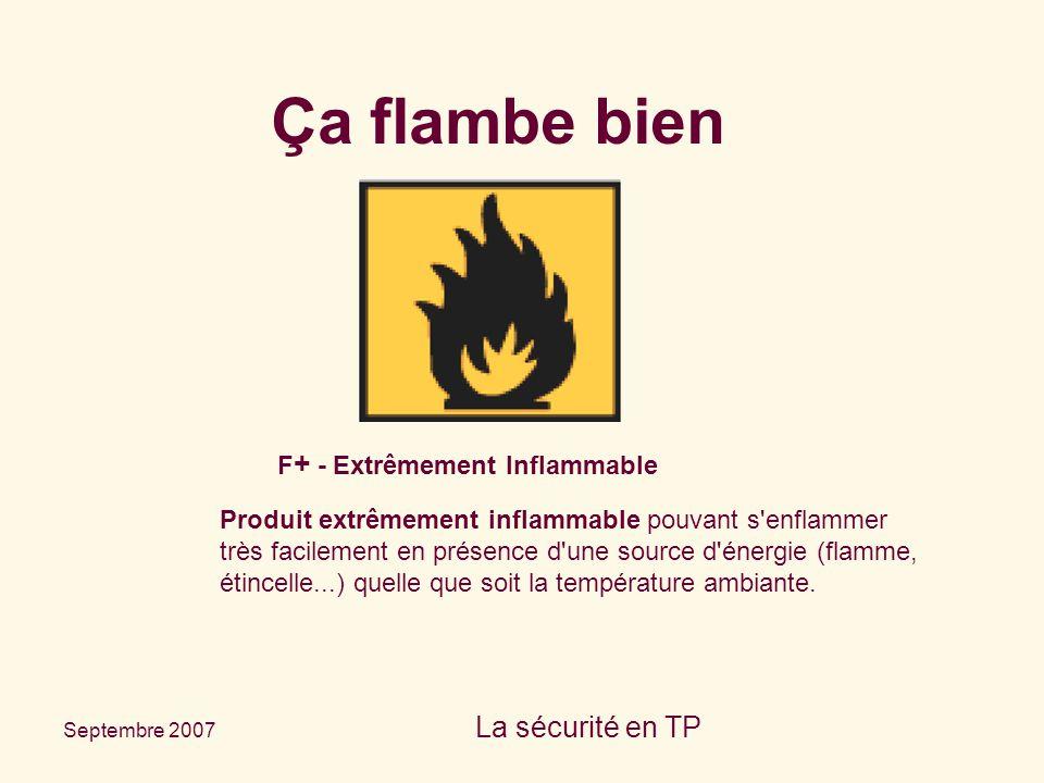 Septembre 2007 La sécurité en TP F + - Extrêmement Inflammable Produit extrêmement inflammable pouvant s'enflammer très facilement en présence d'une s