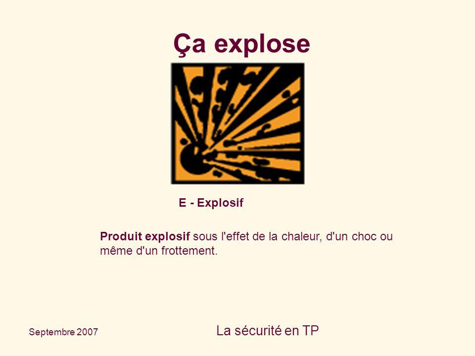 Septembre 2007 La sécurité en TP E - Explosif Produit explosif sous l'effet de la chaleur, d'un choc ou même d'un frottement. Ça explose