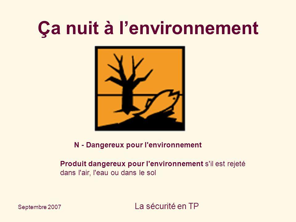 Septembre 2007 La sécurité en TP N - Dangereux pour l'environnement Produit dangereux pour l'environnement s'il est rejeté dans l'air, l'eau ou dans l