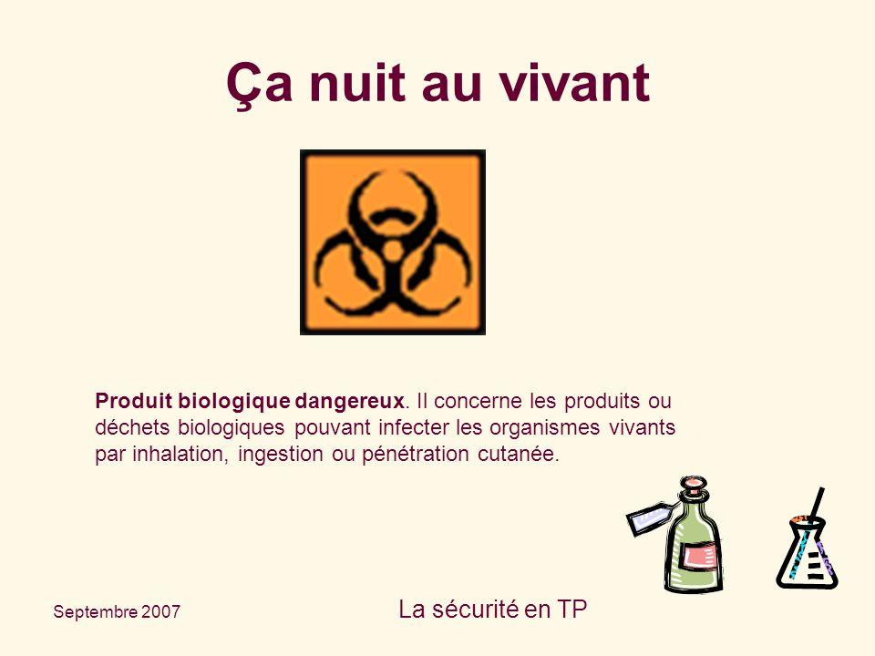 Septembre 2007 La sécurité en TP Produit biologique dangereux. Il concerne les produits ou déchets biologiques pouvant infecter les organismes vivants