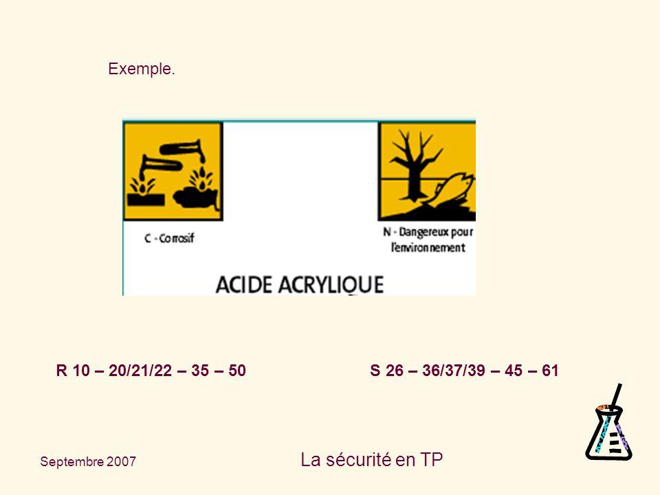 Septembre 2007 La sécurité en TP Exemple. R 10 – 20/21/22 – 35 – 50 S 26 – 36/37/39 – 45 – 61