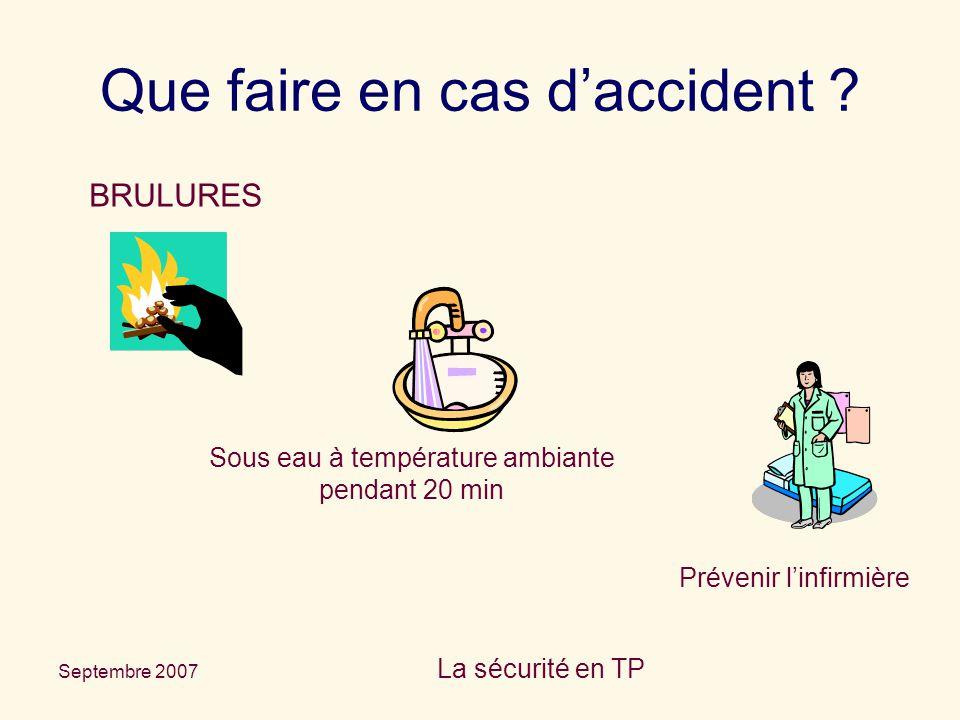Septembre 2007 La sécurité en TP Que faire en cas d'accident ? BRULURES Sous eau à température ambiante pendant 20 min Prévenir l'infirmière