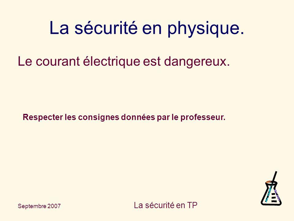Septembre 2007 La sécurité en TP La sécurité en physique. Le courant électrique est dangereux. Respecter les consignes données par le professeur.