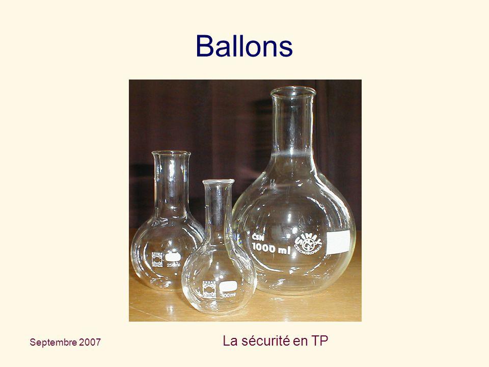 Septembre 2007 La sécurité en TP Ballons
