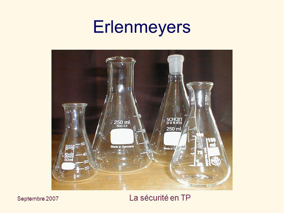 Septembre 2007 La sécurité en TP Erlenmeyers