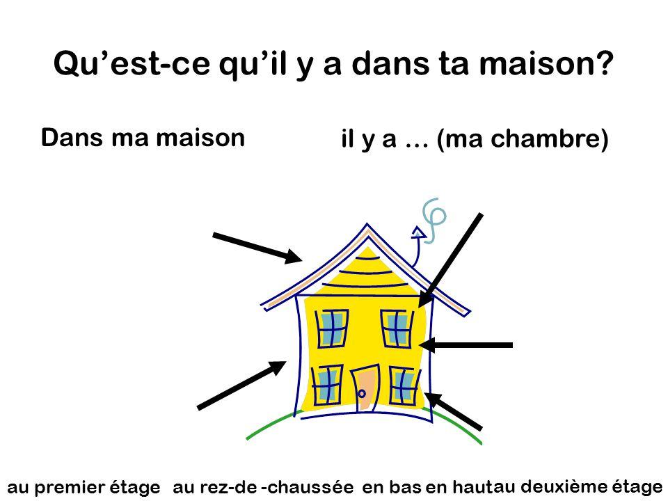 Qu'est-ce qu'il y a dans ta maison? Dans ma maison en hauten bas il y a … (ma chambre) au rez-de -chaussée au deuxième étage au premier étage