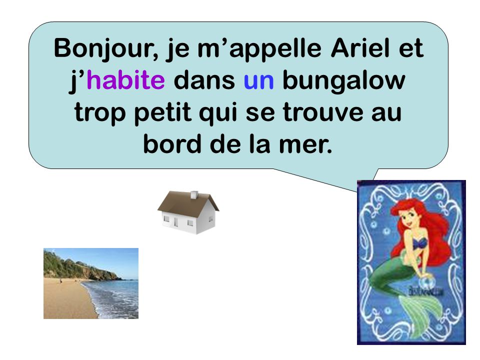 Bonjour, je m'appelle Ariel et j'habite dans un bungalow trop petit qui se trouve au bord de la mer.