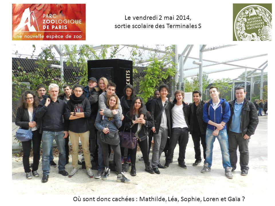 Le vendredi 2 mai 2014, sortie scolaire des Terminales S Où sont donc cachées : Mathilde, Léa, Sophie, Loren et Gaïa