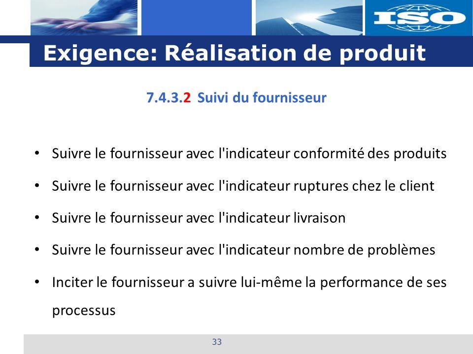 L o g o Exigence: Réalisation de produit 33 7.4.3.2 Suivi du fournisseur Suivre le fournisseur avec l'indicateur conformité des produits Suivre le fou