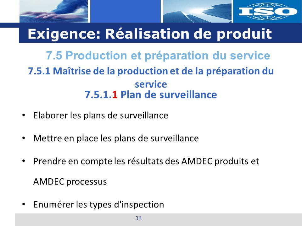 L o g o Exigence: Réalisation de produit 34 7.5.1.1 Plan de surveillance Elaborer les plans de surveillance Mettre en place les plans de surveillance