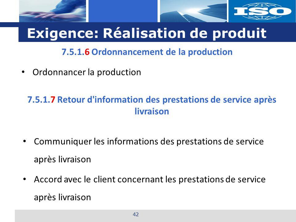 L o g o Exigence: Réalisation de produit 42 7.5.1.6 Ordonnancement de la production Ordonnancer la production 7.5.1.7 Retour d'information des prestat