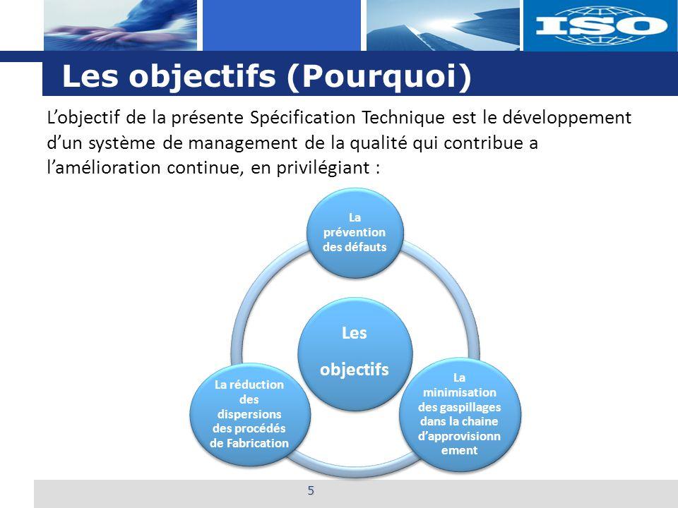 L o g o Les objectifs (Pourquoi) 5 L'objectif de la présente Spécification Technique est le développement d'un système de management de la qualité qui contribue a l'amélioration continue, en privilégiant : Les objectifs La prévention des défauts La minimisation des gaspillages dans la chaine d'approvisionn ement La réduction des dispersions des procédés de Fabrication