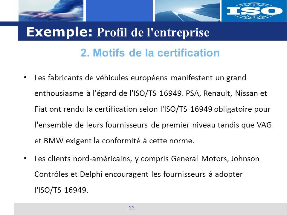L o g o Exemple: Profil de l'entreprise 55 Les fabricants de véhicules européens manifestent un grand enthousiasme à l'égard de l'ISO/TS 16949. PSA, R