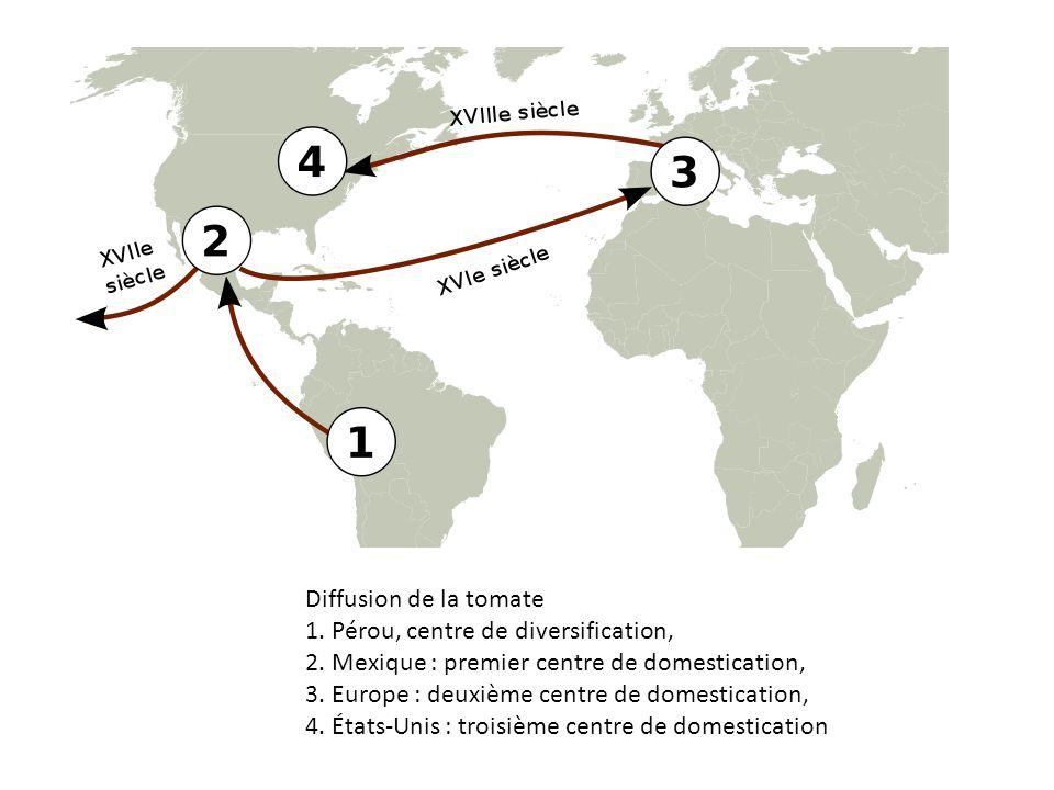 Diffusion de la tomate 1. Pérou, centre de diversification, 2. Mexique : premier centre de domestication, 3. Europe : deuxième centre de domestication