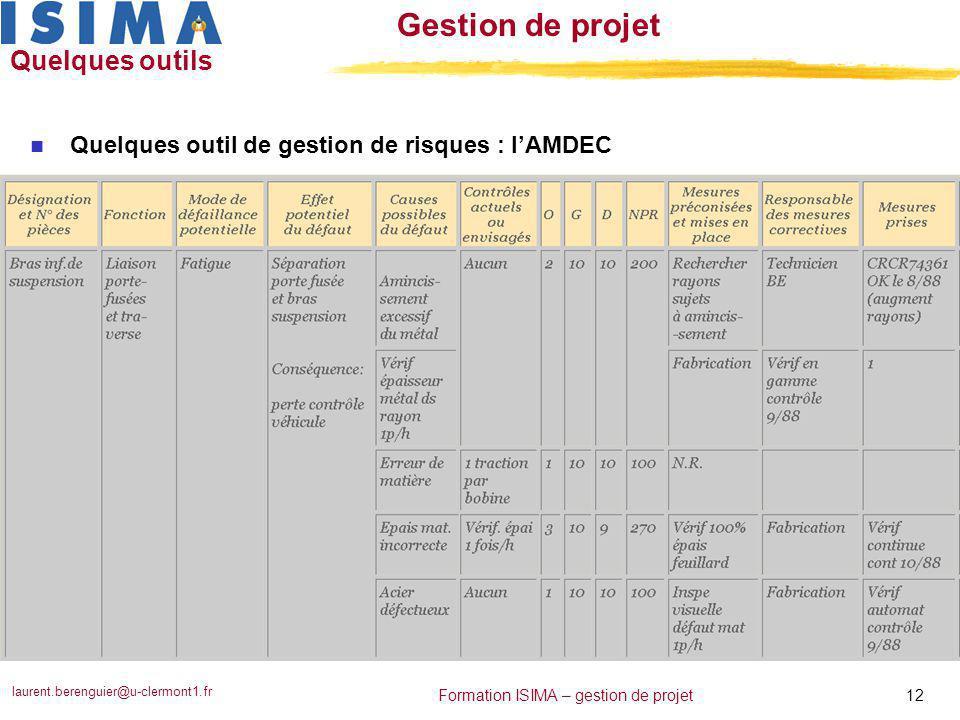 laurent.berenguier@u-clermont1.fr 12 Formation ISIMA – gestion de projet Gestion de projet Quelques outils n Quelques outil de gestion de risques : l'