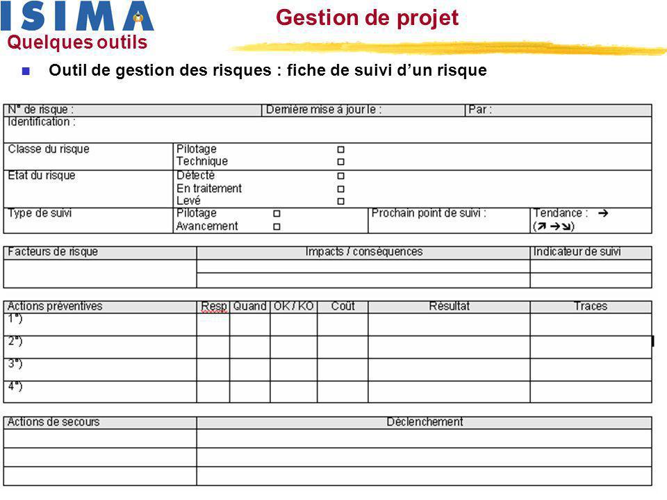 laurent.berenguier@u-clermont1.fr 13 Formation ISIMA – gestion de projet Gestion de projet Quelques outils n Outil de gestion des risques : fiche de s
